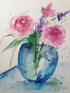 Aquarell Aquarellmalerei Blumen Blumenstrauß Bild Kunst Malerei Watercolour Flowers Dekoration Original Art
