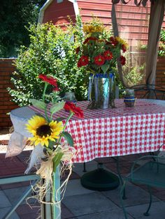 View of table under canopy.