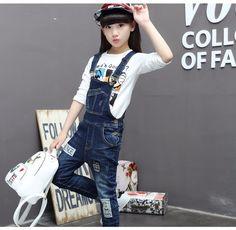 c0a767a629d7 F17009 2017 Latest Fashion Top Design Jumpsuit Pockets Design Girl Denim  Patch Jeans Wholesale Children s