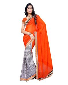 Orange Printed Border Lace Work Chiffon Saree. It designed with finest quality fabric. Orange saree with dotted black and border with gold and black less.