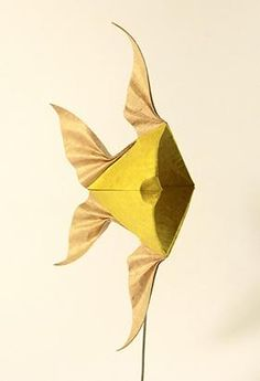 For VOG's Water Bomb Base Challenge. Actually, this fish has no head. Creator: Nguyễn Hùng Cường Designed & folded: April 2010 Material: one uncut square of duo paper Nguyen Hung, Vietnam, Water Bombs, Paper Crafts Origami, Paper Artwork, Angel Fish, The Creator, Nerd, Creatures
