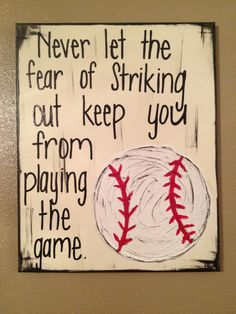 Baseball Textured Canvas - Never let the fear of striking out keep you from playing the game. $38.00, via Etsy. Perfect for Jackson's bedroom!