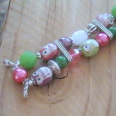 Owl Beaded Watchband in Green, Purple, Pink and Silver, Stretchy