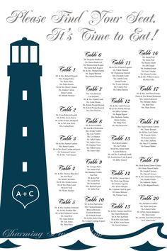 Nautical wedding, beach wedding, beach party, nautical themed party idea.  Seating chart template, printable any where locally. Fast and easy to get from Charming Paper Shop