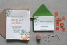 Florida-Inspired Citrus Letterpress Wedding Invites. Love the colors and design!