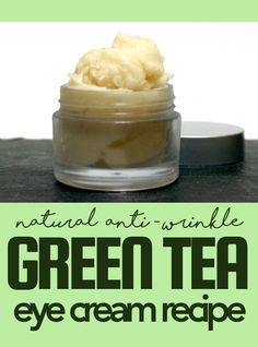 Green tea eye cream recipe. Natural anti-aging eye cream DIY for fine lines and wrinkles. This natural anti-wrinkle green tea eye cream recipe is made using rosehip seed oil