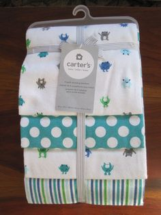 New NWT Carter Girl Unicorn Heart 4 Pack Receiving Flannel Cotton Blanket Set