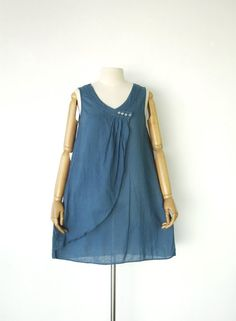 NO10  GreyishBlue Cotton Draped Front Top by JoozieCotton on Etsy, $28.00