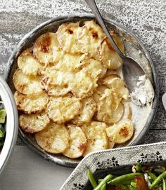 Potato and Celery-Root Gratin #recipe. Quick tip: a mandoline slices potatoes uniformly and paper-thin.