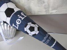 Schultüten - Schultüte Zuckertüte Fussball Fussball dunkelblau - ein Designerstück von Lottanelli bei DaWanda