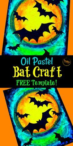 Oil Pastel Bat Craft and Art Project For Kids (with FREE Bat Template!) Halloween Kunst, Halloween Art Projects, Halloween Arts And Crafts, Fall Art Projects, Halloween Painting, Theme Halloween, School Art Projects, Halloween Costumes, Art Project For Kids