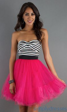 7b5ebf7cd8b Short Strapless A-Line Tulle Party Dress