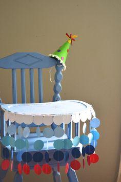 First Birthday High Chair Birthday Banner summer circles by thePathLessTraveled