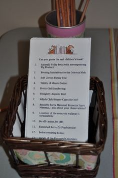 What a cute game for a book themed shower...LOTS OF CUTE BOOK THEMED IDEAS....