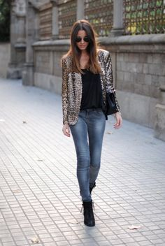 Sequin blazer and darker jeans!