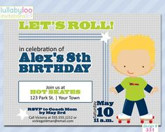 Boys Skating Birthday Invitations (331) | lullabyloo - Cards on ArtFire #skating #roller skating #birthday party #party invitations #birthday invitations #invitations #boys Boy Birthday Invitations, Party Invitations, Birthday Love, Roller Skating, Party Party, Party Planning, Rsvp, Skate, Boys