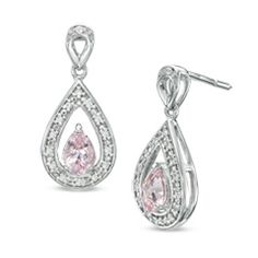 Pear-Shaped Morganite and 1/10 CT. T.W. Diamond Drop Earrings in 10K White Gold