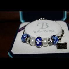 Bracelets Bella Perlina Charm Bracelet Blue Floral Pearl Beads and Silver Jewelry