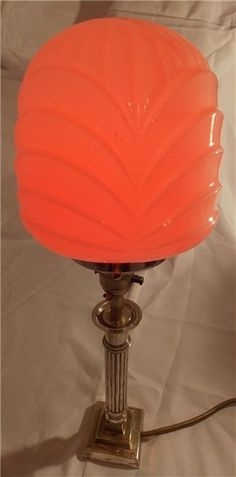 Art Deco silver plated table lamp with moulded glass shade. £ 160. @ http://maxartdeco.binary-synergy.com/