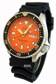 Seiko Men' s Orange Dial Professional Automatic Diver Watch (Made in Japan) # # Seiko Diver, Seiko Mod, Seiko Automatic, Edc Everyday Carry, Expensive Watches, 200m, Brand Collection, Seiko Watches, Orange
