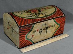 Small 19thC Antique Pennsylvania Folk Art Painted Dome Top Trunk Chest Box Exceptional Condition, Fresh Pick!   Sols  Ebay   1545.00.     ...~♥~
