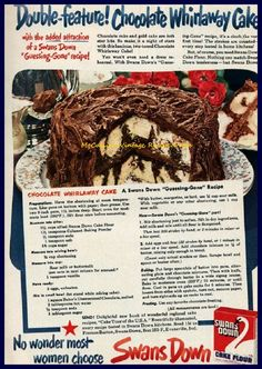 Swans Down 1950 Chocolate Whirlaway Cake Recipe Ad