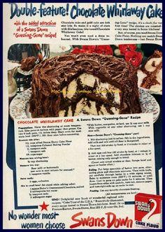 Swans Down 1950 Chocolate Whirlaway Cake Recipe Ad