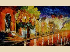 ORIGINAL Oil Painting Date in the City 23 X 40 Modern Home Office decor Cityscape Multicolored Impressionism Palette Knife Big Red Orange Street Night Buildings reflections wall couple love Handmade ART by Marchella Piery