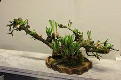 bloemstuk met takken en hyacinten