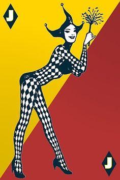Joker Playing Card, Joker Card, Clown Pics, Printable Playing Cards, Unique Playing Cards, Aces And Eights, Harlequin Pattern, Batman The Dark Knight, Circus Theme