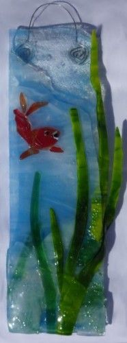 Fused Glass Goldfish Hanging Panel by Silver Art Glass Jewelry