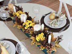 bricolage enfants avec bougies fleurs  courge et pomme de pin