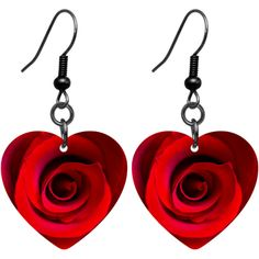 Red Rose Heart Earrings $9.99  #bodycandy