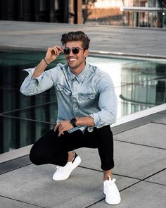 a bleached denim shirt, black jeans and white sneakers for a summer to fall and fall outfit - Styleoholic Men With Street Style, Men Street, Street Wear, Ripped Denim, Denim Shirt, Stylish Men, Men Casual, Casual Menswear, Mens Fashion