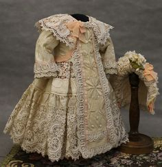 Antique Lace, Antique Dolls, Doll Costume, Costumes, French Fabric, Beautiful Dresses, Doll Clothes, Kids Fashion, Vintage Fashion
