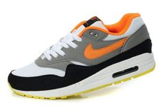 Nike Air Max 1 Zapatos para Hombre Grises/Blancos-Negros-Naranjas totales http://www.esnikerun.com/