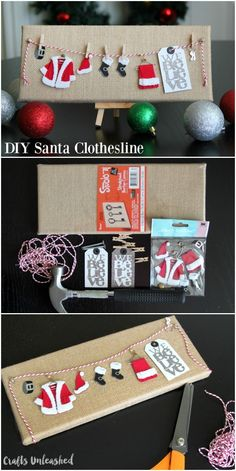 Christmas DIY: If you're looking fo If you're looking for a cute and easy DIY Christmas decoration that can be made in 10 minutes look no further! This adorable Santa clothesline is perfect! Noel Christmas, Christmas Wrapping, Homemade Christmas, Winter Christmas, Christmas Ornaments, Christmas Ideas, Christmas Canvas, Christmas Music, Diy Christmas Projects