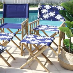 Create a tropical retreat in your own home with our Havana bamboo director's chairs. Featuring a tropical palm print in navy and white, the Havana chairs are a perfect match for the Havana footstool and Cape Cod table.