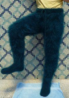 Custom Made Long Hair Mohair Emerald Green Pants by Lanaknittings Angora, Sleep Pants, Mohair Sweater, Catsuit, Shag Rug, Hand Knitting, Geek Stuff, Wool, Sweaters