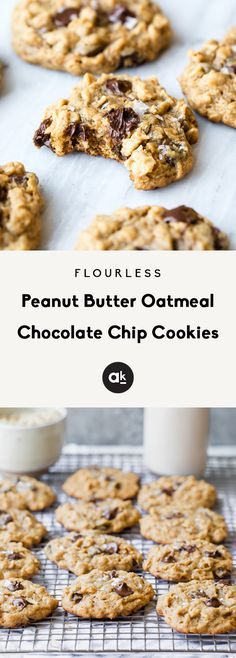 Flourless Peanut Butter Oatmeal Chocolate Chip Cookies - - Thick, chewy peanut butter oatmeal chocolate chip cookies -- these gluten free cookies are flourless and full of peanut butter flavor! Oatmeal Chocolate Chip Cookie Recipe, Flourless Peanut Butter Cookies, Gluten Free Peanut Butter, Peanut Butter Oatmeal, Oatmeal Chocolate Chip Cookies, Gluten Free Chocolate, Chocolate Chips, Flourless Oatmeal Cookies, Chocolate Chocolate