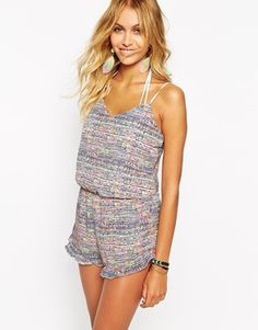 Surf Gypsy Neon Speckled Back Beach Playsuit