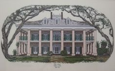 Oak Alley - House is on River Road between New Orleans and Baton Rouge, LA.  I did this in counted cross stitch years ago.  When I actually visited O.A. Plantation, it was eerie how like this piece the actual house looks!