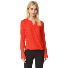 Rag & Bone Max Blouse ($355) ❤ liked on Polyvore featuring tops, blouses, fiery red, long sleeve tops, asymmetrical hem top, red top, long sleeve red blouse and red long sleeve top
