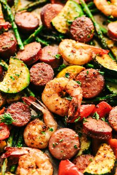 Cajun Shrimp and Sausage Vegetable Sheet Pan is so incredibly easy but packed with such amazing cajun flavor! This is ...