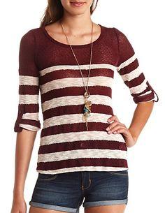 Open Knit Striped Sweater: Charlotte Russe