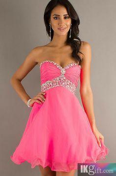 Short Strapless Chiffon Babydoll Prom Dress