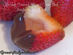 """Oh My, if you're looking for a fantastic shot try these amazing chocolate covered Whipped cream filled strawberry jello shots Yes folks, these are Quite alcoholic! These tasty morsels are filled with a Whipped Cream flavored """"jello"""" and capped with dark chocolate in an edible shot glass!"""