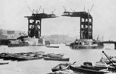 Tower Bridge, London, under construction.
