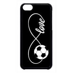 Soccer Infinity Forever Love Black Case Cover for iPhone 4 4s 5 5s 5c... ($12) ❤ liked on Polyvore featuring accessories, tech accessories and phone cases