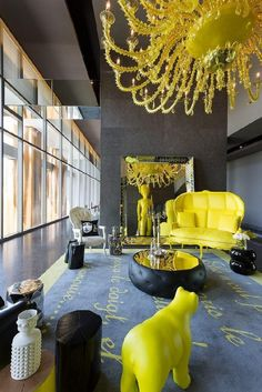 Yoo Panama by Philippe Starck. Industrial designer Philippe Starck has recently completed the interiors of a 56 storey building designed by Bettis-Tarazi Arquitectos located in Panama. Interior Design Minimalist, Best Interior Design, Interior Decorating, Color Interior, Yellow Interior, Contemporary Interior, Decorating Tips, Kitchen Contemporary, Decorating Kitchen